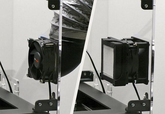 Filtre à particules et buses sur capot pour imprimante 3D